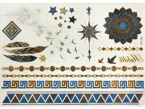 Metalické tetování modro zlaté vzory YH108