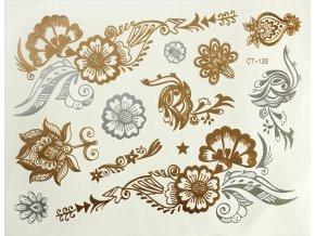 Metalické tetování Zlato stříbrné květy CT133