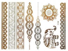 Metalické tetování Slon a ornamenty CT 206