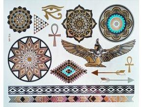 Metalické nalepovací tetování YS 44 Egyptské motivy