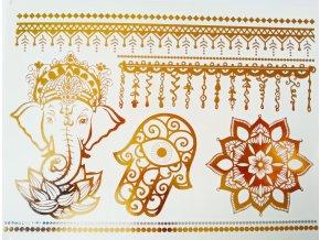 Metalické nalepovací tetování Ganesha