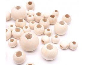 Dřevěné korálky nelakované přírodní