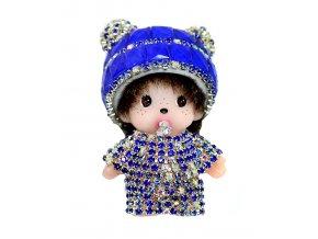 Přívěšek na klíče kabelku Monchichi Glitr modrý 01