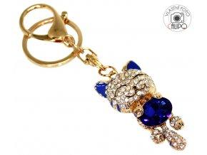 Přívěsek na kabelku a klíče Kočka modrá 02