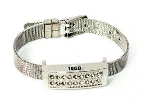 USB náramek na ruku s krystaly stříbrný 01