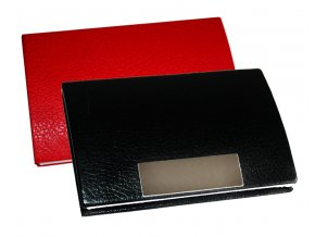 Kovové pouzdro na vizitky PU kůže červené černé