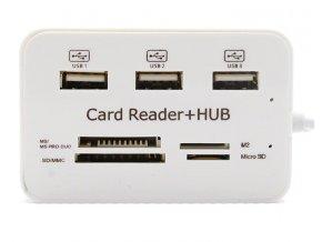USB hub Combo na USB a SDHC karty bílý 01