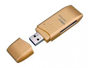 Čtečka karet SDXC a Micro SD zlatá 01