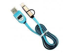 Datový USB kabel a voltmetr modrý 01